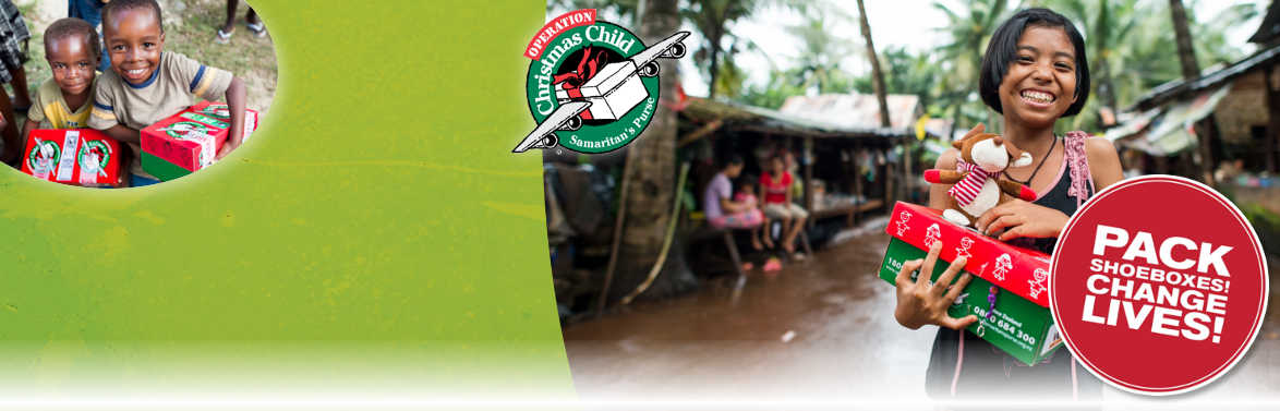 join us in collecting shoeboxes for children in over 100 countries who have suffered - Operation Christmas Child Shoebox